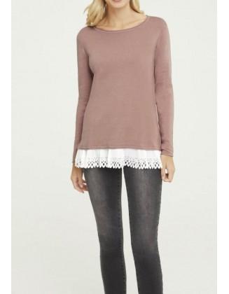 Pudros spalvos megztinis