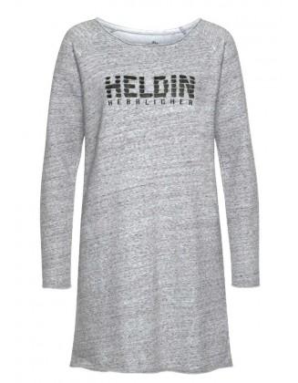 Pilka marškinėlių tipo suknelė