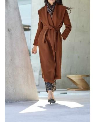 Ilgas rudas paltas su vilna. Liko 38 dydis