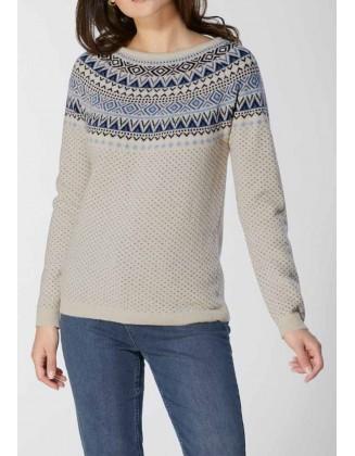 Vilnonis raštuotas megztinis